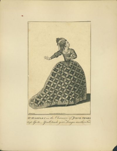 Engraving of actress in full dress costume.